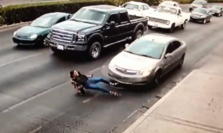 Woman In High Heels Slips And Is Hit By Car