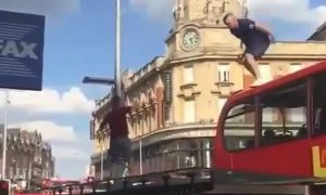 England Fan Jump Off Bus