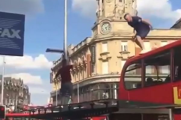 England Fan Jump Off Bus