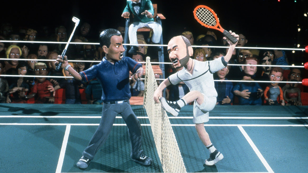 Celebrity Deathmatch (MTV)Shown: Tiger Woods vs. Andre Agassi