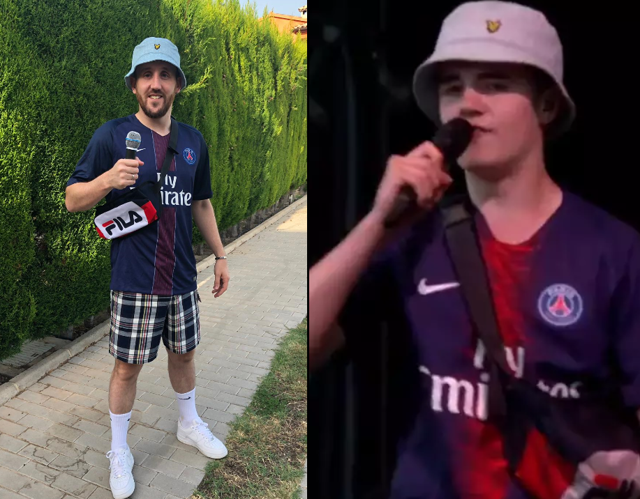 A Guy Dressed Up As Alex From Glastonbury For His Stag Do In Benidorm